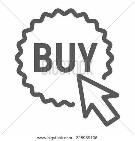 Buy Now Button Line Icon, E Commerce And Marketing, Shop Sign Vector Graphics, A Linear Pattern On A