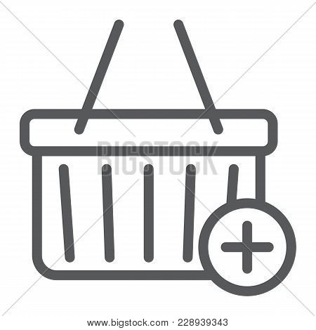 Add To Cart Line Icon, E Commerce And Marketing, Retail Box Sign Vector Graphics, A Linear Pattern O