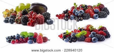 Mixed Berries And Fruits With Copy Space For Text. Set Of Fresh Fruits And Berries Isolated A White