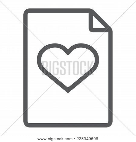 Wish List Line Icon, E Commerce And Marketing, Document Sign Vector Graphics, A Linear Pattern On A