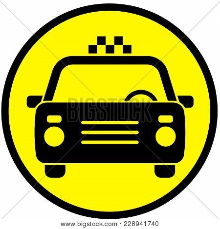 Icon With The Image Of A Taxi Car. Vector Illustration