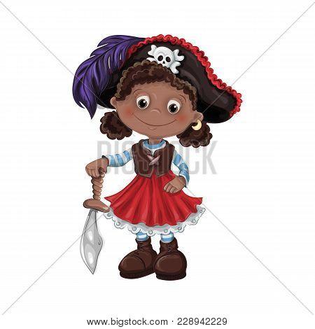 Cute Cartoon Girl Pirate Vector Illustration. Kids Pirates.
