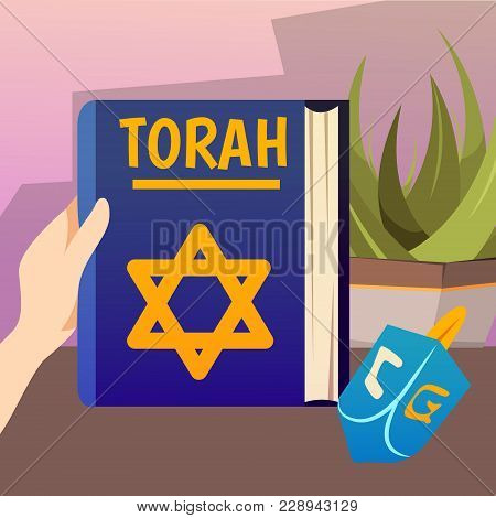 Cartoon Jews Characters Composition With Human Hand Holding The Torah Book Of Jewish And Christian S