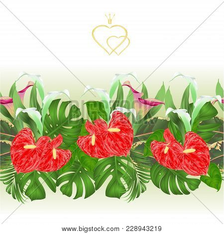 Floral Border Seamless Background With Blooming Lilies Cala And Anthurium, Palm,philodendron And Fic