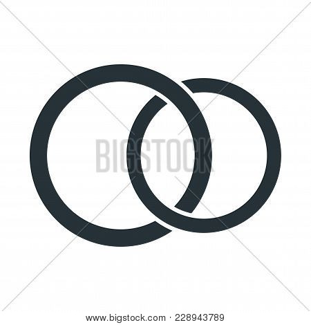 Gold Wedding Ring Icon. Proposal For Marriage, Matchmaking And Betrothal. Flat Vector Cartoon Illust