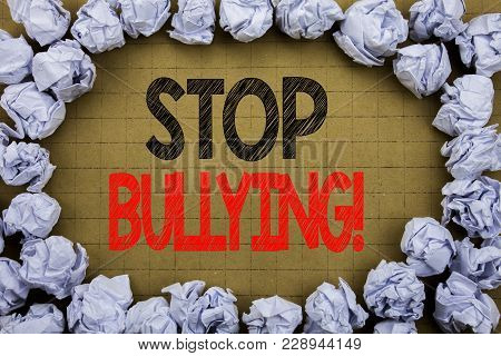 Stop Bullying. Business concept for Prevention Problem Bully written on vintage background with space on old background with folded paper balls poster