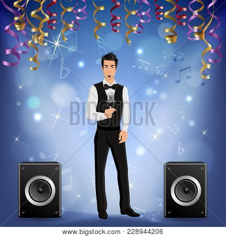 Festive Presentation Event Party Celebration Music Concert Realistic Image With Singer Onstage Louds