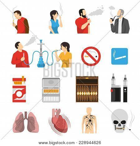 Smoking Vaping Shisha Hookah Products Accessories Ban Signs And Health Risks Flat Icons Collection I