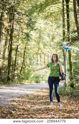 Woman Hitchhiker Standing On The Side Of The Road In Autumn Forest, Thumbing For Picking Her Up.