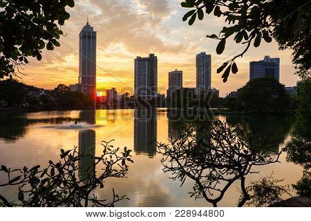 Beira Lake And Colombo City Skyline View At Sunset. Beira Lake Is A Lake In The Center Of The Colomb