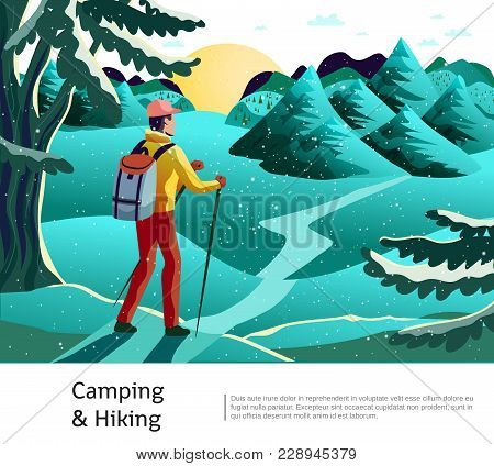 Camping Hiking Background Poster With Tourist Holding Nordic Walking Sticks On Green Meadow With Con