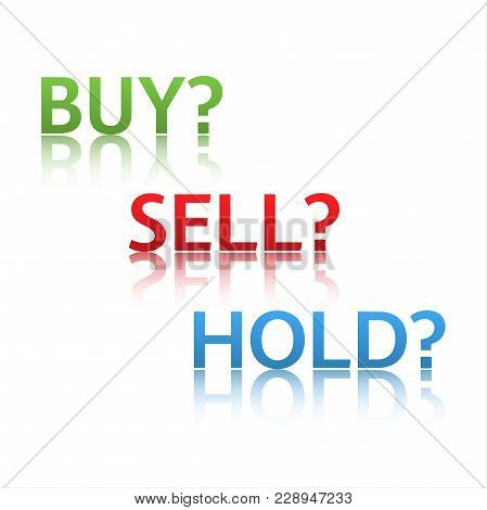 Stock Market Options, Three Business Variants, Buy, Sell, Hold, Sales Trade Icons Isolated On White