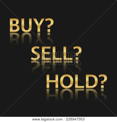 Golden Vector Trade Icons, Stock Market Options, Three Business Variants, Buy, Sell, Hold, Sales Sym