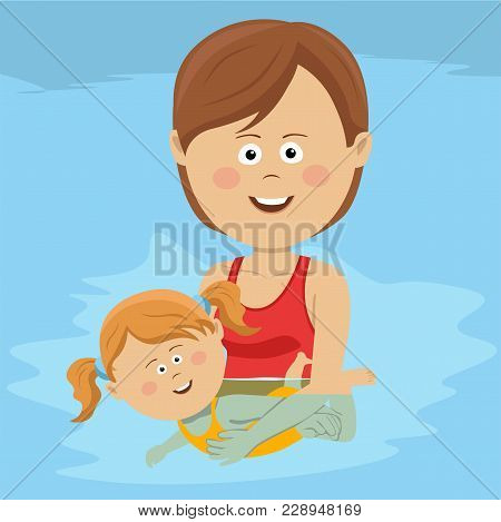 Young Happy Mom Teaches Her Daughter To Swim In The Swimming Pool
