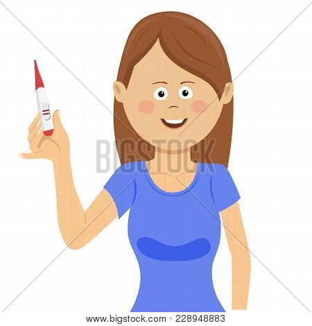 Happy Woman Showing Positive Pregnancy Test. Pregnancy, Fertility, Maternity And People Concept On W