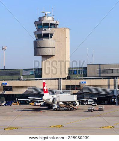 Kloten, Switzerland - 28 March, 2017: Tower At The Zurich Airport. The Zurich Airport, Also Known As