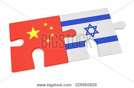 China Israel Partnership Concept: Chinese Flag And Israeli Flag Puzzle Pieces, 3d Illustration Isola