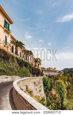 Cityscape of Taormina, located on a hillside in Sicily, Italy