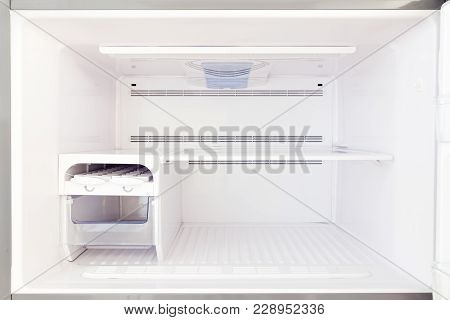 The Freezer Is A View Inside The Empty, Freezer With Empty Shelves Close-up.