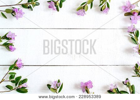 Festive Floral Frame On White Wooden Background