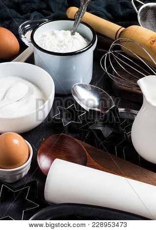 Preparation Baking Kitchen Ingredients For Cooking. Grocery Accessories For Home Pastry Eggs Flour S