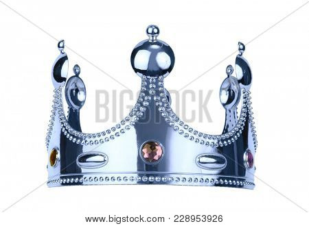 isolated silwer king crown on white