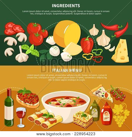 Italian Menu Horizontal Banners With Ingredients And Dishes Of Traditional National Cuisine Flat Vec