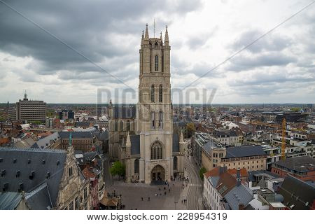 Ghent, Belgium - April 16, 2017: Saint Bavo Cathedral Or Sint-baafskathedraal, Aerial View From Belf