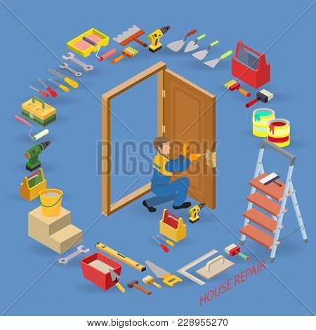 Isometric Interior Repairs Concept. Worker Installs A Door Knob. Repairer In Uniform Holds A Screwdr