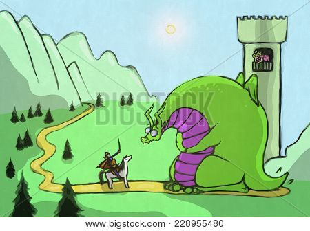 The Fairytale Story Illustration With The Green Fat Dragon And The Princess.