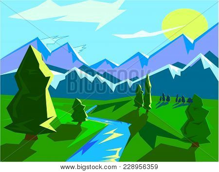 Bright Landscape Mountain View Landscape With Mountains On A Background Of Trees And River Vector Il