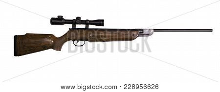 Air Rifle With Optical Sight On White Background