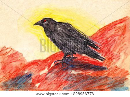 Hand Drawn Bright Black Rawen Bird With Red Eyes On The Red Background Picture
