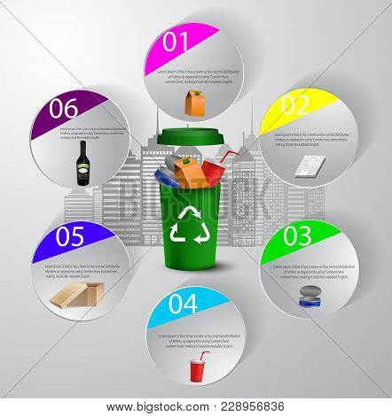 Recycling Bin Illustration With Garbage City Recycling Infographic Concept Vector Green