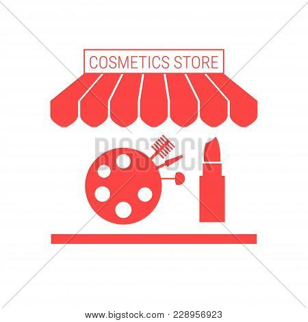 Cosmetics Store, Beauty Shop Single Flat Vector Icon. Striped Awning And Signboard. A Series Of Shop