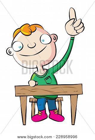 Cute White School Boy Raise Hand In Class Vector Illustration