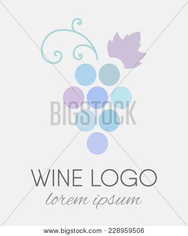 Blue Colored Grapes Logo In Line Art Style. Wine Or Vine Logotype Icon. Brand Design Element For Org