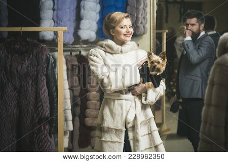 Date, Couple, Love, Man And Woman. Date Of Couple In Love In Shop Buy Fur Coat, Woman And Man With D