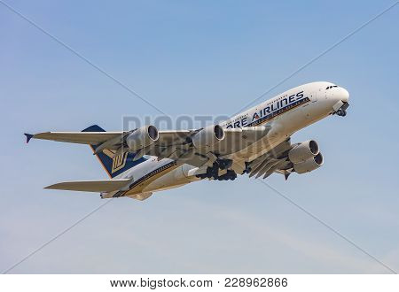 Kloten, Switzerland - 29 March, 2017: Airbus A380 Airplane Of The Singapore Airlines After Take Off