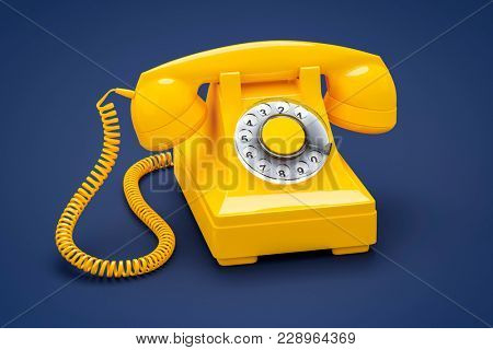 3d illustration of an old orange phone