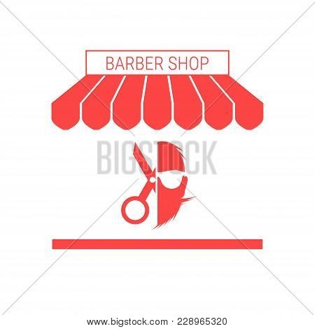 Barber Shop, Hairdressing Salon Single Flat Vector Icon. Striped Awning And Signboard. A Series Of S