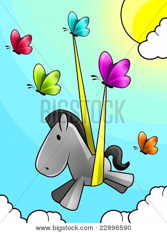 Illustration of a Butterflies set free a baby horse