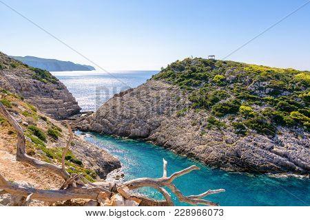Korakonisi Island Near Agios Leon. A View From Tavern Situated On Cliff. Zakynthos Island. Zante, Gr