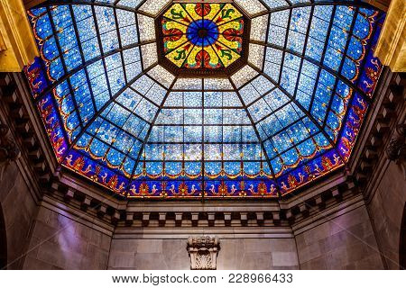 Indianapolis - Circa February 2018: Indiana State Capitol Rotunda. The Beautiful Stained Glass Dome