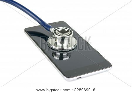 Stethoscope And Smartphone. Health Of Device.