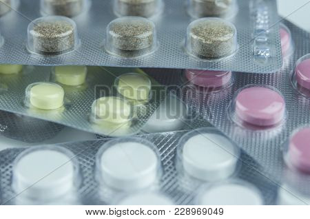 Pills In Blister Pack Isolated On A White Background