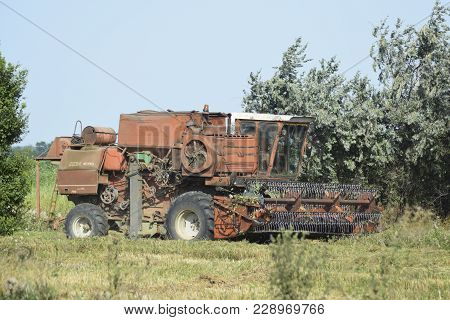 Poltavskaya Village, Russia - September 6 2017: Combine Harvesters Agricultural Machinery