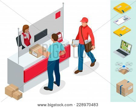 Isometric Post Office Concept. Young Man Waiting For A Parcel In A Post Office. Correspondence Isola