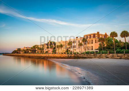 poster of Charleston, South Carolina, USA homes along The Battery.