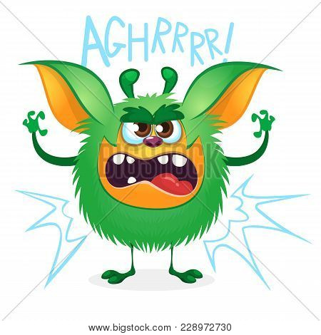 Angry Cartoon Green Hairy Monster. Big Collection Of Cute Monsters For Halloween. Vector Illustratio